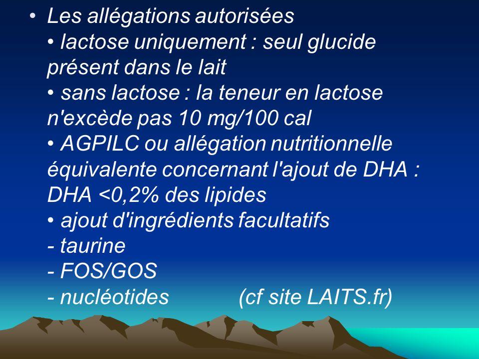Les allégations autorisées lactose uniquement : seul glucide présent dans le lait sans lactose : la teneur en lactose n'excède pas 10 mg/100 cal AGPIL