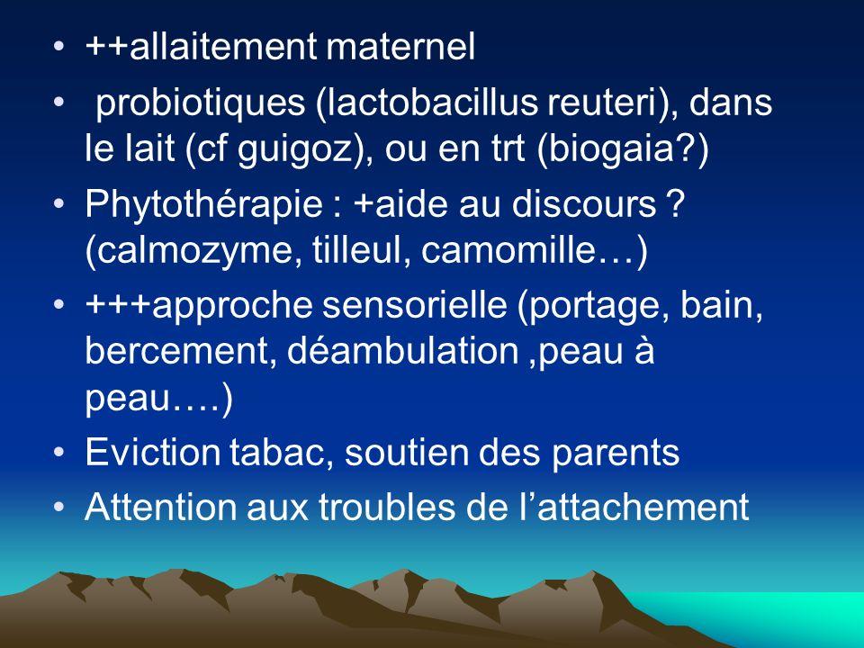 ++allaitement maternel probiotiques (lactobacillus reuteri), dans le lait (cf guigoz), ou en trt (biogaia?) Phytothérapie : +aide au discours ? (calmo