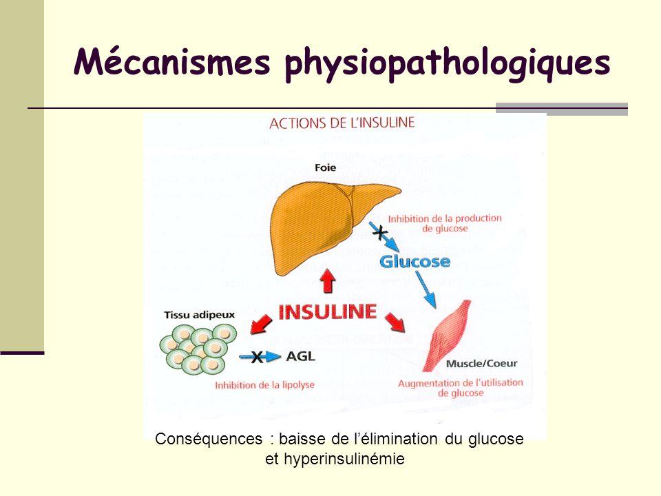 Mécanismes physiopathologiques Conséquences : baisse de lélimination du glucose et hyperinsulinémie