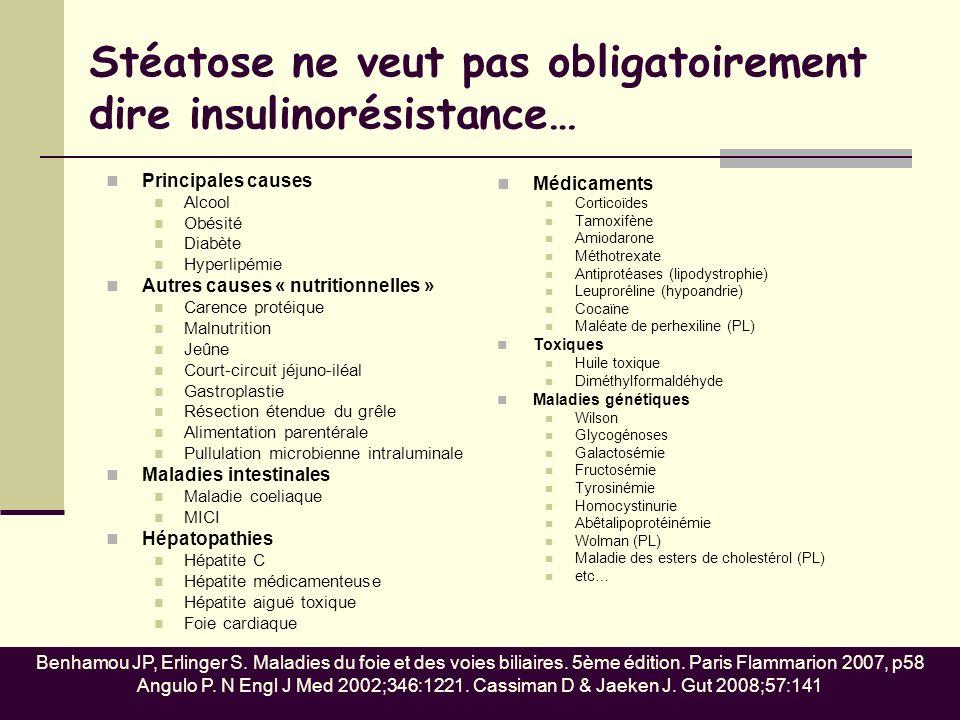 Stéatose ne veut pas obligatoirement dire insulinorésistance… Principales causes Alcool Obésité Diabète Hyperlipémie Autres causes « nutritionnelles »