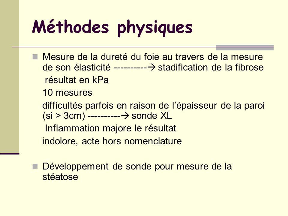 Méthodes physiques Mesure de la dureté du foie au travers de la mesure de son élasticité ---------- stadification de la fibrose résultat en kPa 10 mes