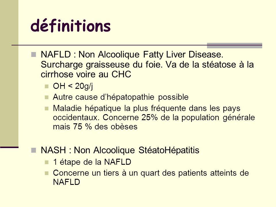 définitions NAFLD : Non Alcoolique Fatty Liver Disease. Surcharge graisseuse du foie. Va de la stéatose à la cirrhose voire au CHC OH < 20g/j Autre ca