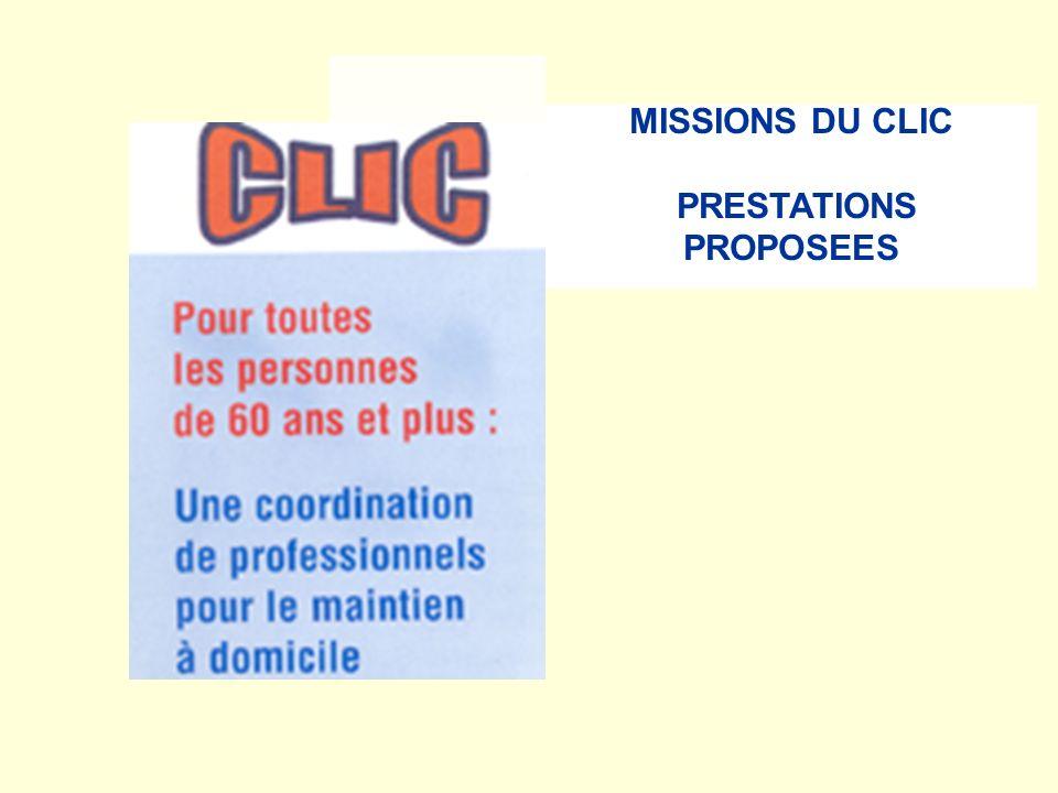 MISSIONS DU CLIC PRESTATIONS PROPOSEES