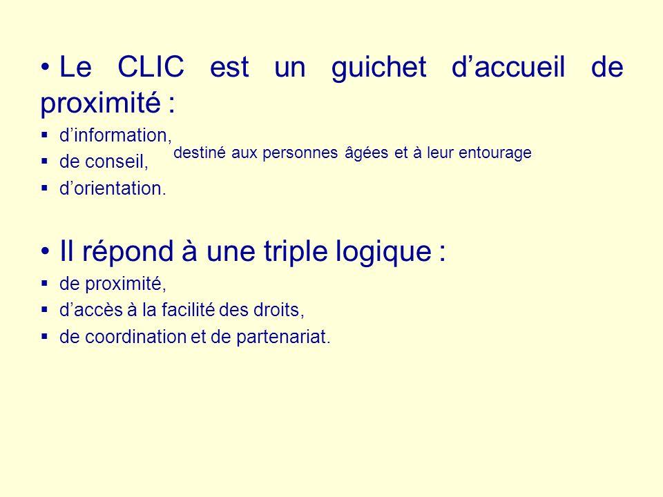 Le CLIC est un guichet daccueil de proximité : dinformation, de conseil, dorientation.