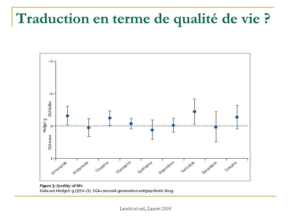 Leucht et coll, Lancet 2009 Traduction en terme de qualité de vie ?