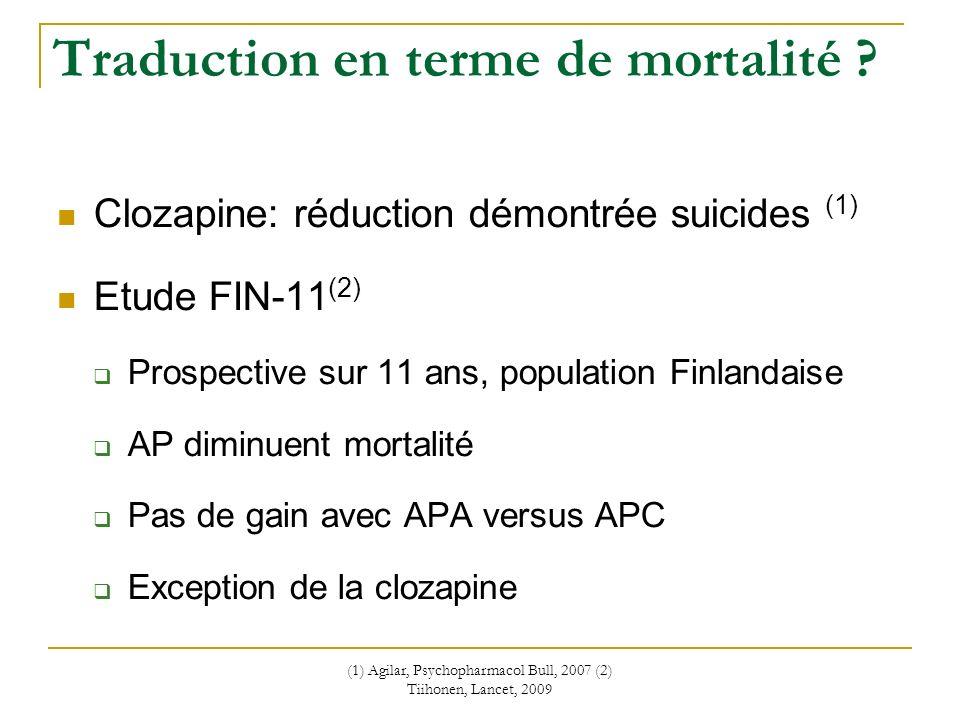 (1) Agilar, Psychopharmacol Bull, 2007 (2) Tiihonen, Lancet, 2009 Traduction en terme de mortalité ? Clozapine: réduction démontrée suicides (1) Etude
