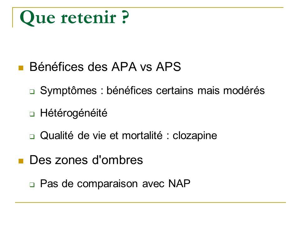Que retenir ? Bénéfices des APA vs APS Symptômes : bénéfices certains mais modérés Hétérogénéité Qualité de vie et mortalité : clozapine Des zones d'o