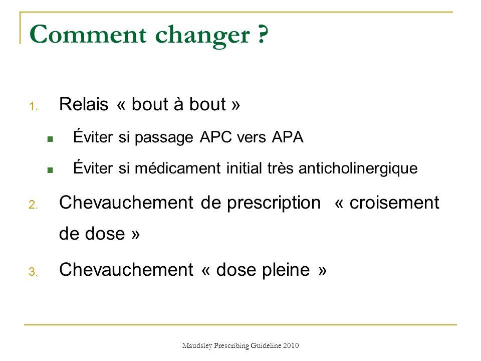 Maudsley Prescribing Guideline 2010 Comment changer ? 1. Relais « bout à bout » Éviter si passage APC vers APA Éviter si médicament initial très antic