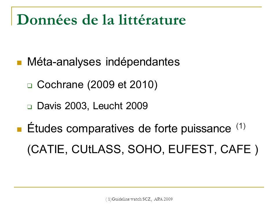 ( 1)Guideline watch SCZ, APA 2009 Données de la littérature Méta-analyses indépendantes Cochrane (2009 et 2010) Davis 2003, Leucht 2009 Études compara