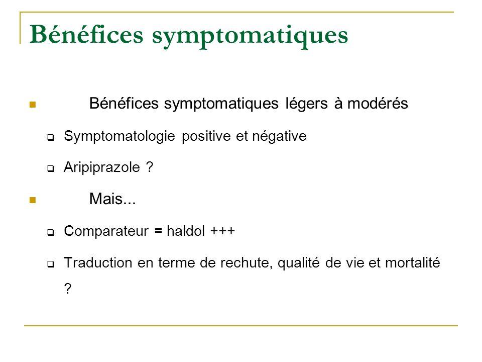 Bénéfices symptomatiques Bénéfices symptomatiques légers à modérés Symptomatologie positive et négative Aripiprazole ? Mais... Comparateur = haldol ++