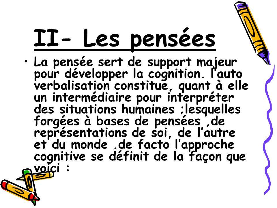 II- Les pensées La pensée sert de support majeur pour développer la cognition. lauto verbalisation constitue, quant à elle un intermédiaire pour inter