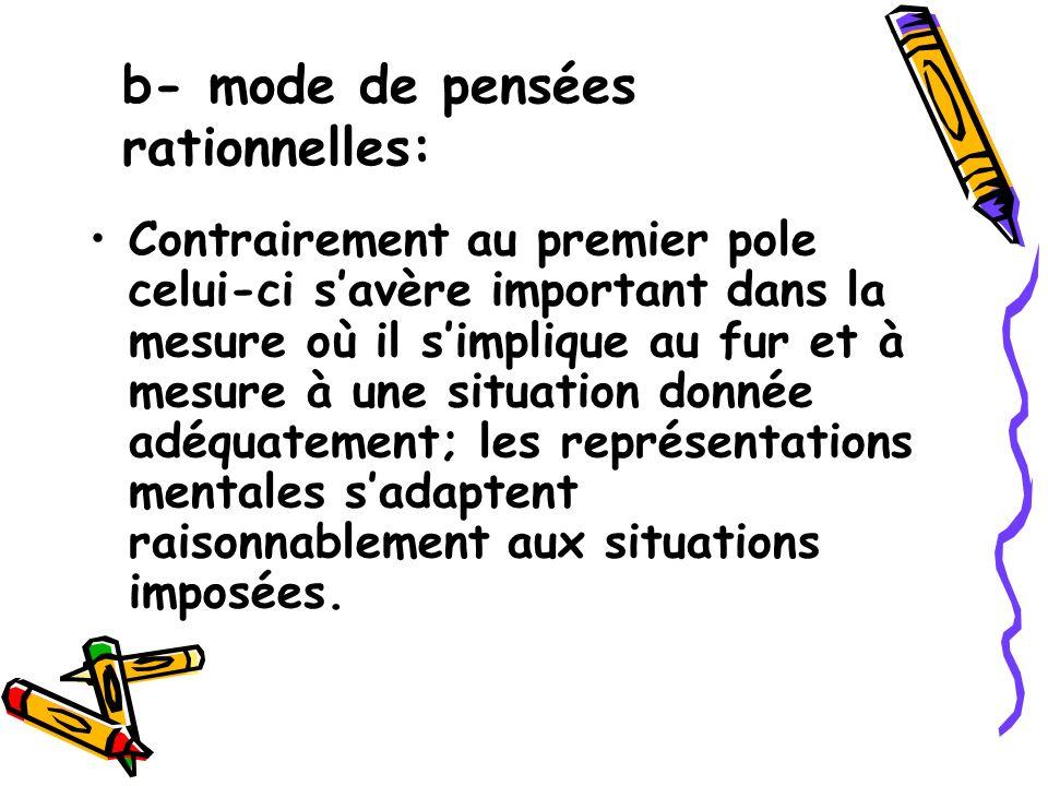 b- mode de pensées rationnelles: Contrairement au premier pole celui-ci savère important dans la mesure où il simplique au fur et à mesure à une situa