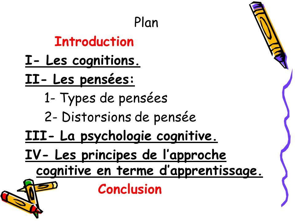 Plan Introduction I- Les cognitions. II- Les pensées: 1- Types de pensées 2- Distorsions de pensée III- La psychologie cognitive. IV- Les principes de