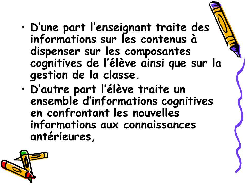 Dune part lenseignant traite des informations sur les contenus à dispenser sur les composantes cognitives de lélève ainsi que sur la gestion de la cla