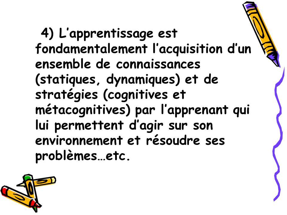 4) Lapprentissage est fondamentalement lacquisition dun ensemble de connaissances (statiques, dynamiques) et de stratégies (cognitives et métacognitiv