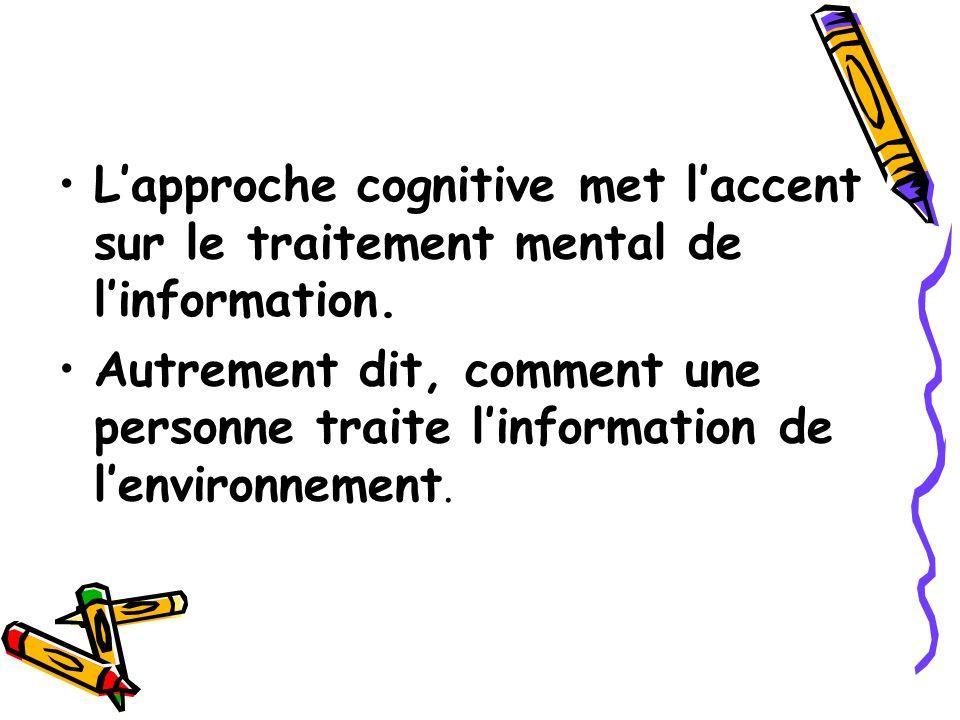 Lapproche cognitive met laccent sur le traitement mental de linformation. Autrement dit, comment une personne traite linformation de lenvironnement.