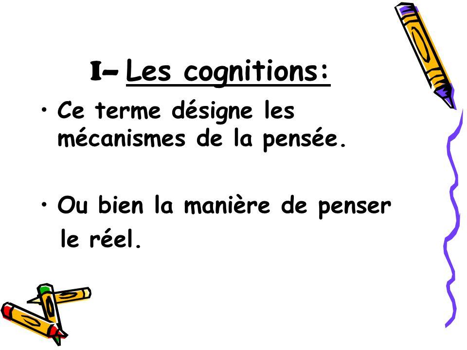 I– Les cognitions: Ce terme désigne les mécanismes de la pensée. Ou bien la manière de penser le réel.
