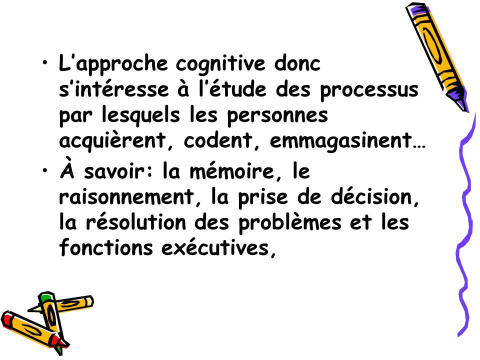 Lapproche cognitive donc sintéresse à létude des processus par lesquels les personnes acquièrent, codent, emmagasinent… À savoir: la mémoire, le raiso
