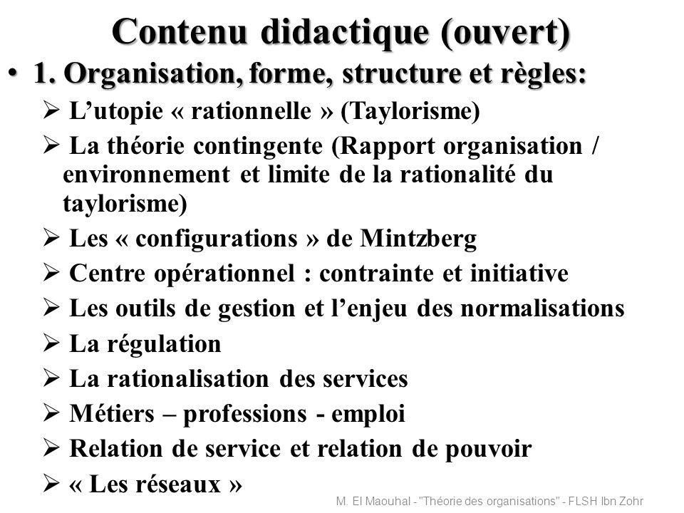 Contenu didactique (ouvert) 1.Organisation, forme, structure et règles: 1.