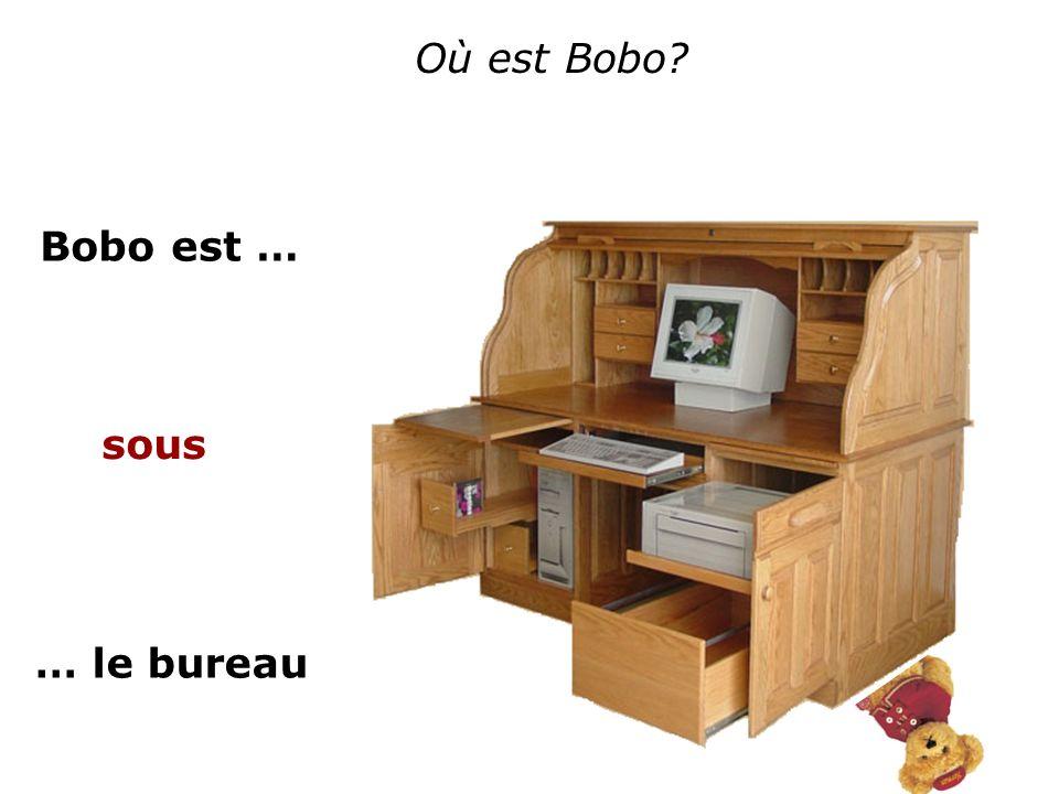 Où est Bobo? Bobo est … … le bureau sous