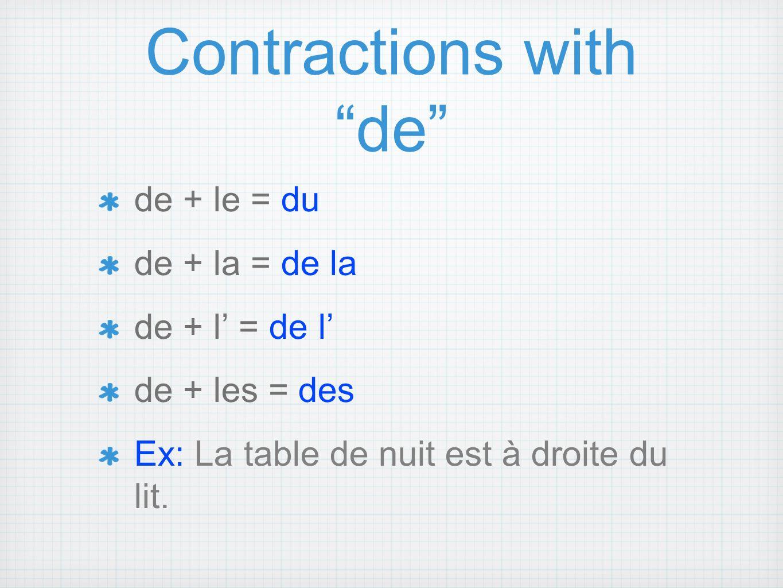 Contractions with de de + le = du de + la = de la de + l = de l de + les = des Ex: La table de nuit est à droite du lit.
