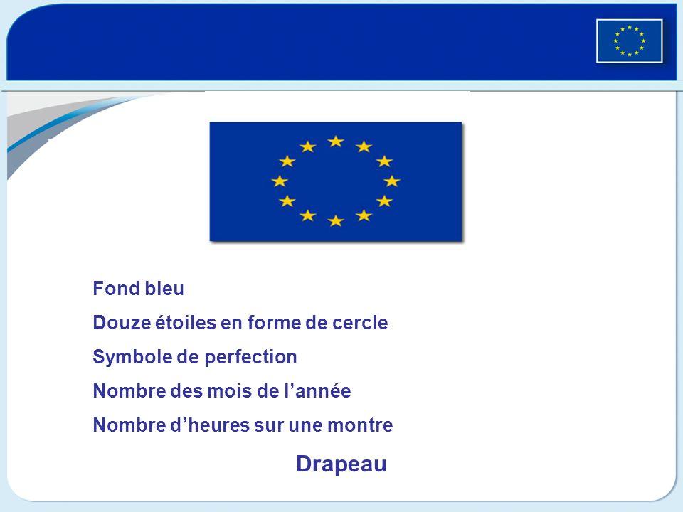 Drapeau Fond bleu Douze étoiles en forme de cercle Symbole de perfection Nombre des mois de lannée Nombre dheures sur une montre Drapeau
