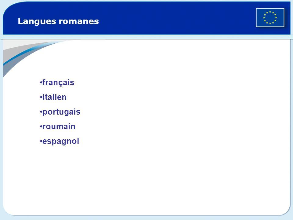 Langues romanes français italien portugais roumain espagnol
