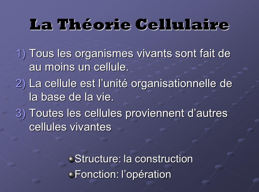 La Théorie Cellulaire 1)Tous les organismes vivants sont fait de au moins un cellule. 2)La cellule est lunité organisationnelle de la base de la vie.