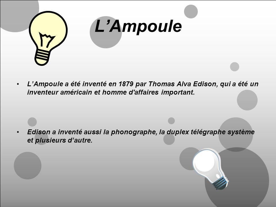 LAmpoule LAmpoule a été inventé en 1879 par Thomas Alva Edison, qui a été un inventeur américain et homme d'affaires important. Edison a inventé aussi