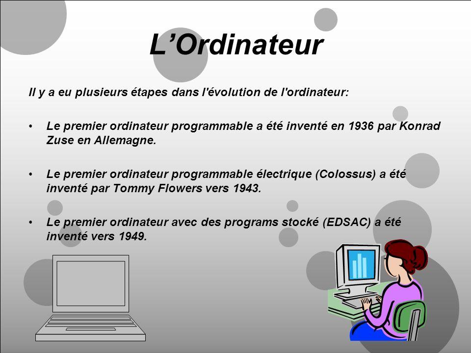 LOrdinateur Il y a eu plusieurs étapes dans l'évolution de l'ordinateur: Le premier ordinateur programmable a été inventé en 1936 par Konrad Zuse en A