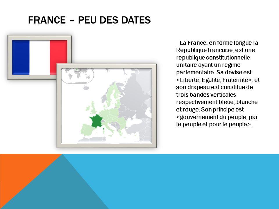 FRANCE – PEU DES DATES La France, en forme longue la Republique francaise, est une republique constitutionnelle unitaire ayant un regime parlementaire.
