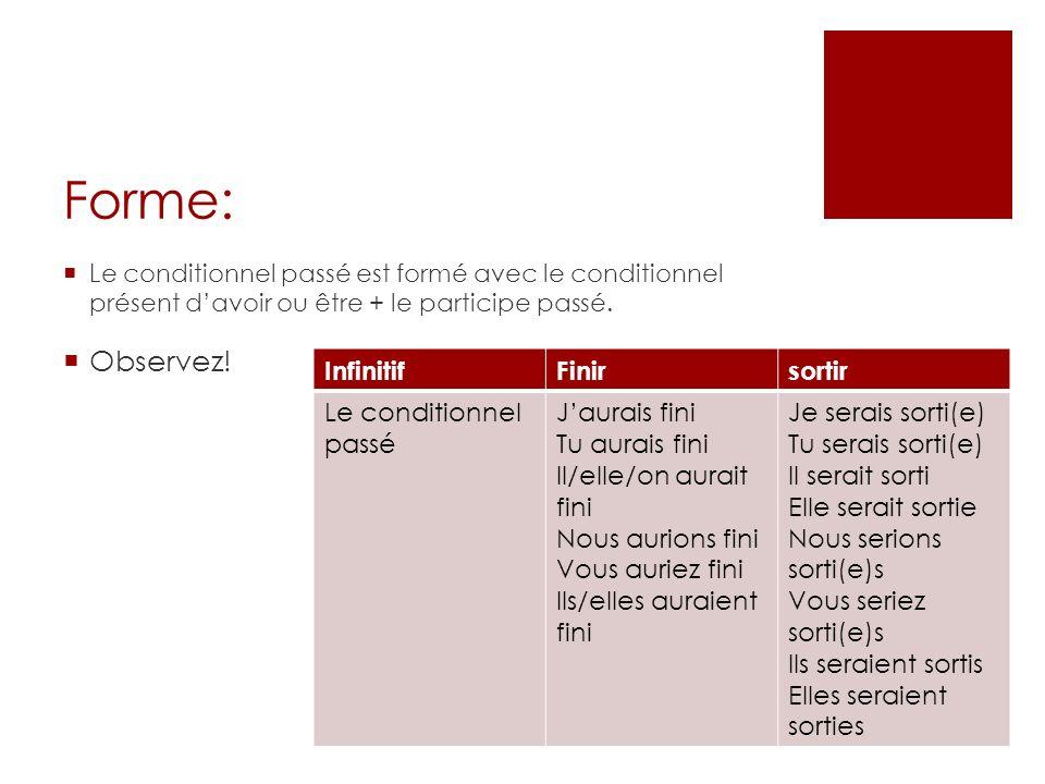 Forme: Le conditionnel passé est formé avec le conditionnel présent davoir ou être + le participe passé. Observez! InfinitifFinirsortir Le conditionne