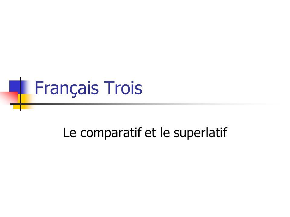 Français Trois Le comparatif et le superlatif