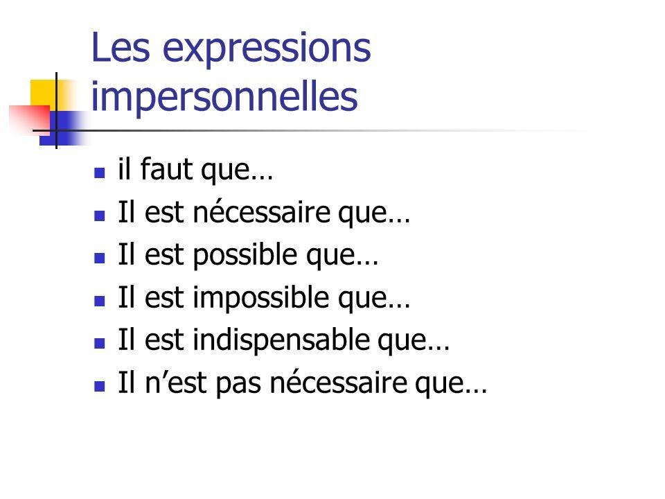 Les expressions impersonnelles il faut que… Il est nécessaire que… Il est possible que… Il est impossible que… Il est indispensable que… Il nest pas n