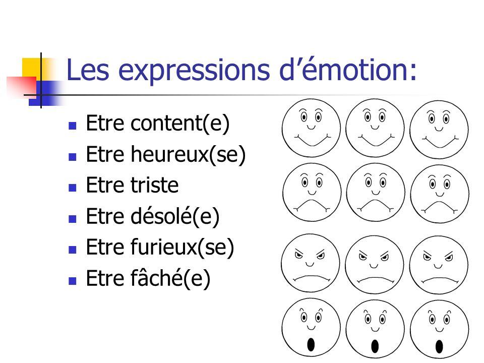 Les expressions démotion: Etre content(e) Etre heureux(se) Etre triste Etre désolé(e) Etre furieux(se) Etre fâché(e)