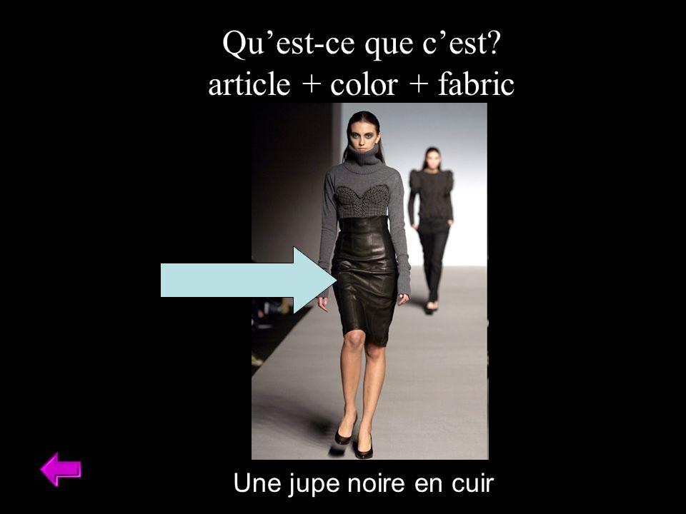Quest-ce que cest article + color + fabric Une jupe noire en cuir