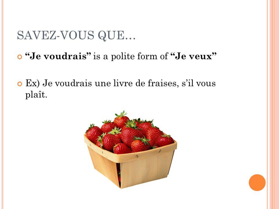 SAVEZ-VOUS QUE… Je voudrais is a polite form of Je veux Ex) Je voudrais une livre de fraises, sil vous plaît.
