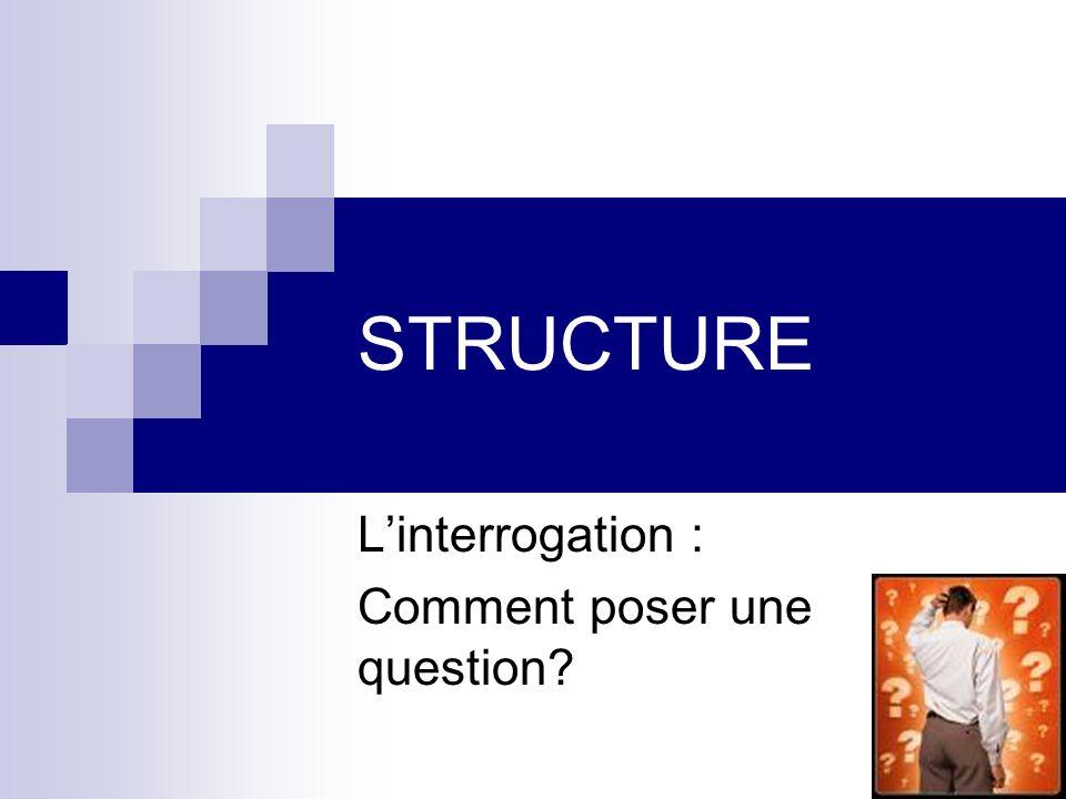 STRUCTURE Linterrogation : Comment poser une question?