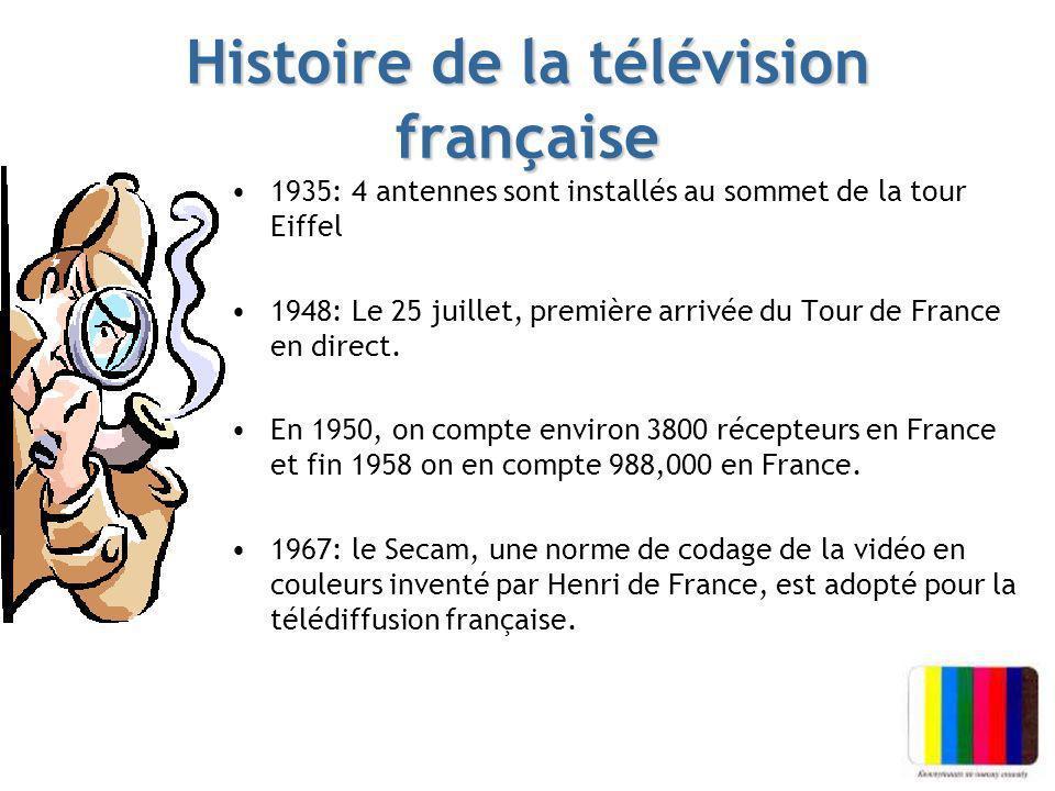 Histoire de la télévision française 1935: 4 antennes sont installés au sommet de la tour Eiffel 1948: Le 25 juillet, première arrivée du Tour de Franc