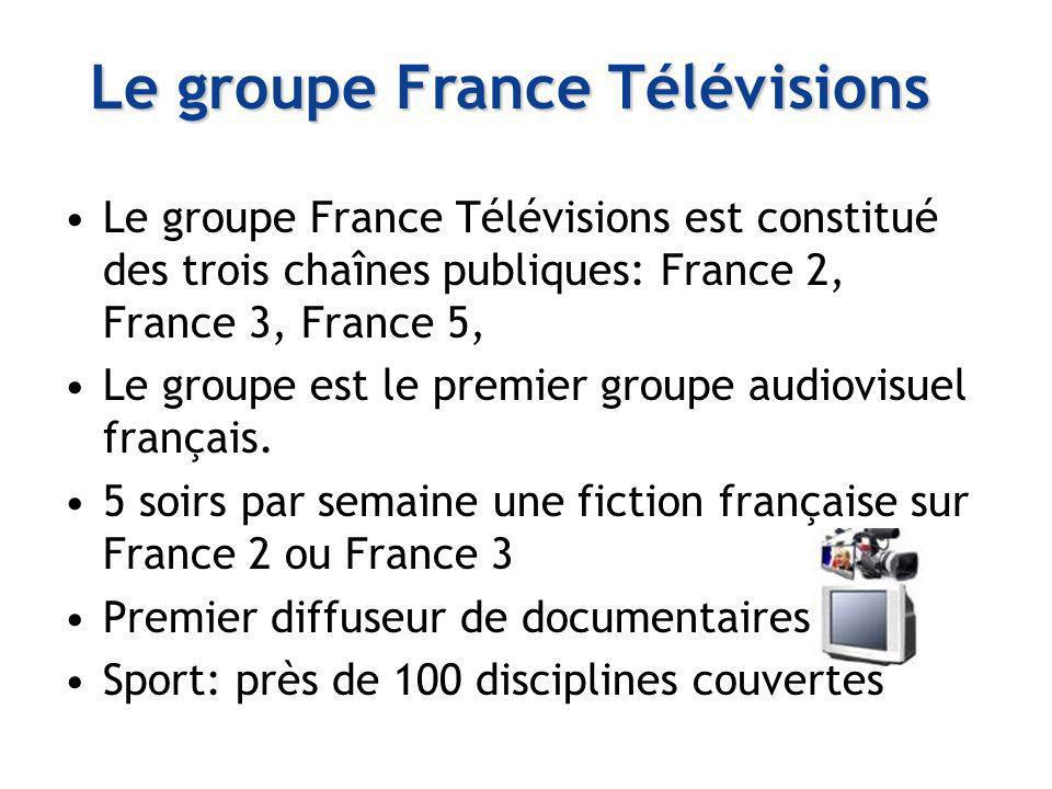 Le groupe France Télévisions est constitué des trois chaînes publiques: France 2, France 3, France 5, Le groupe est le premier groupe audiovisuel fran