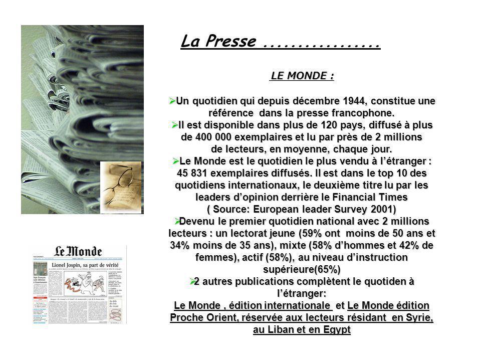 La Presse................. LE MONDE : LE MONDE : Un quotidien qui depuis décembre 1944, constitue une référence dans la presse francophone. Un quotidi