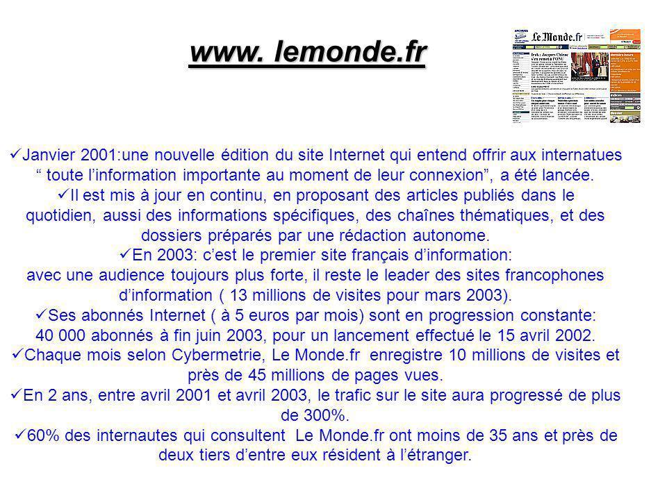 www. lemonde.fr Janvier 2001:une nouvelle édition du site Internet qui entend offrir aux internatues toute linformation importante au moment de leur c
