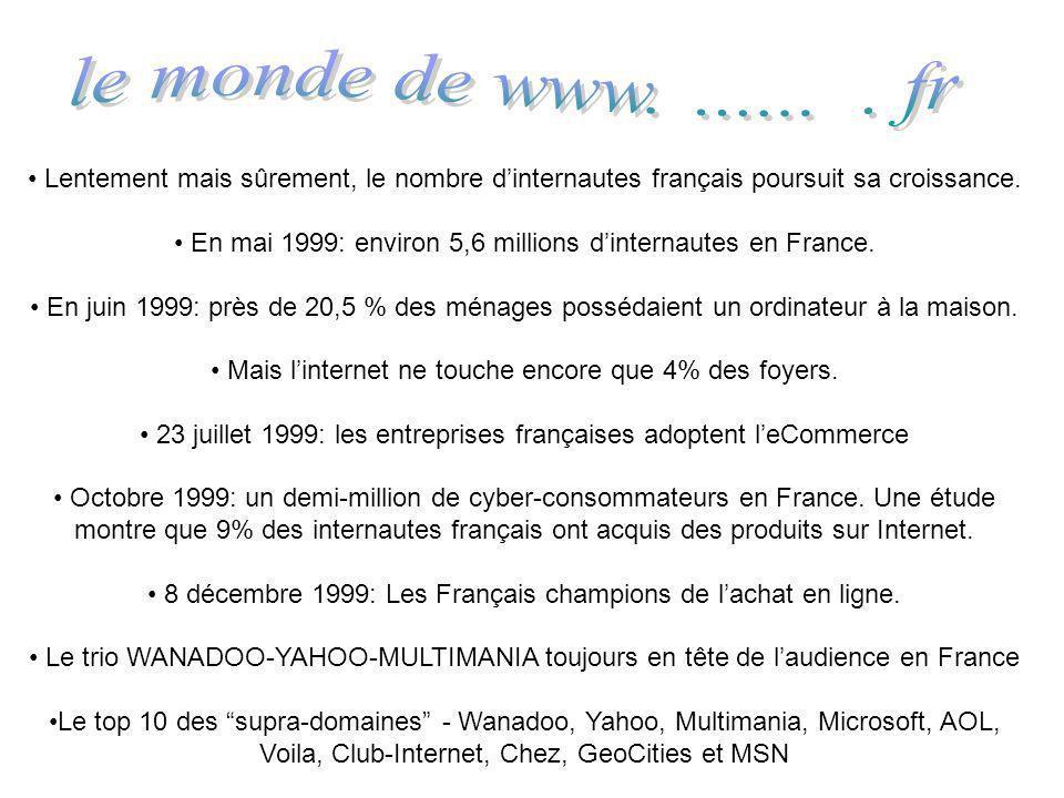 Lentement mais sûrement, le nombre dinternautes français poursuit sa croissance. En mai 1999: environ 5,6 millions dinternautes en France. En juin 199