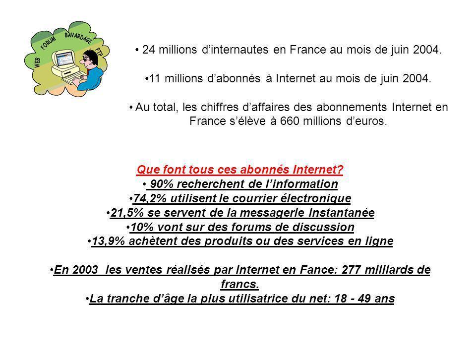 24 millions dinternautes en France au mois de juin 2004. 11 millions dabonnés à Internet au mois de juin 2004. Au total, les chiffres daffaires des ab
