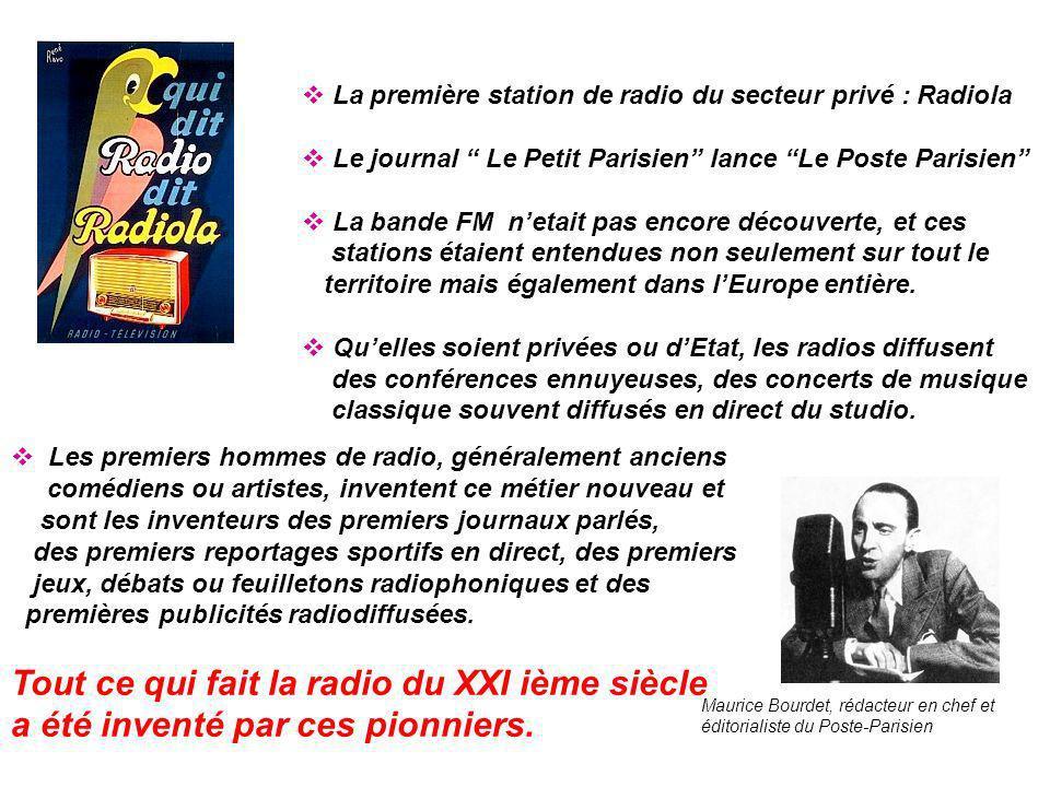 o Les années 30 : 25 stations de radiodiffusion émettent en France : 6 à Paris, 18 en province et 1 internationale, 14 privées et 11 dEtat.