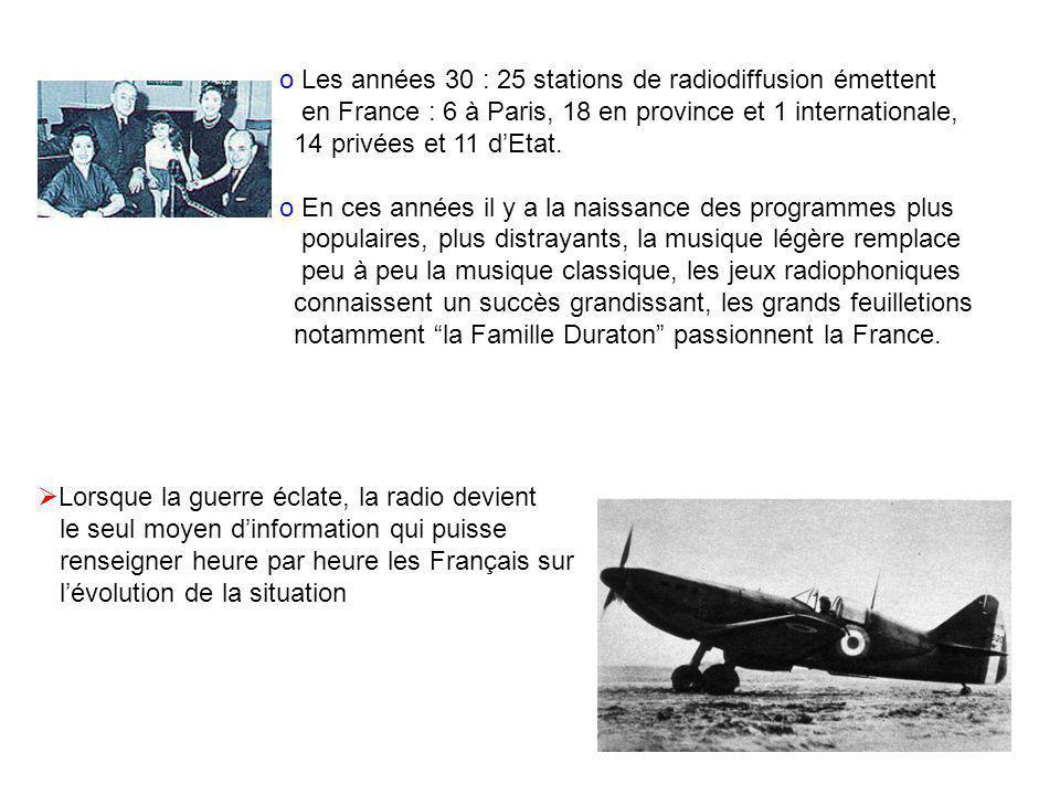 o Les années 30 : 25 stations de radiodiffusion émettent en France : 6 à Paris, 18 en province et 1 internationale, 14 privées et 11 dEtat. o En ces a