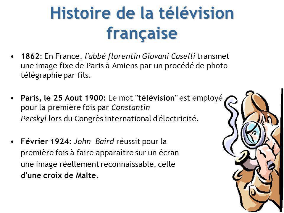 Histoire de la télévision française 1862: En France, l'abbé florentin Giovani Caselli transmet une image fixe de Paris à Amiens par un procédé de phot
