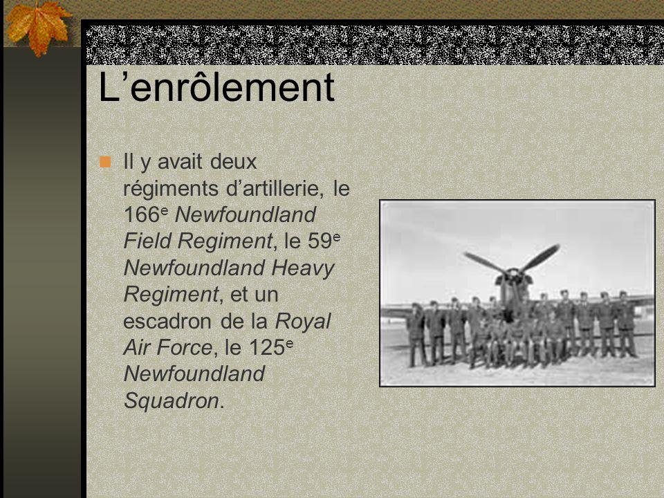 Lenrôlement Il y avait deux régiments dartillerie, le 166 e Newfoundland Field Regiment, le 59 e Newfoundland Heavy Regiment, et un escadron de la Roy