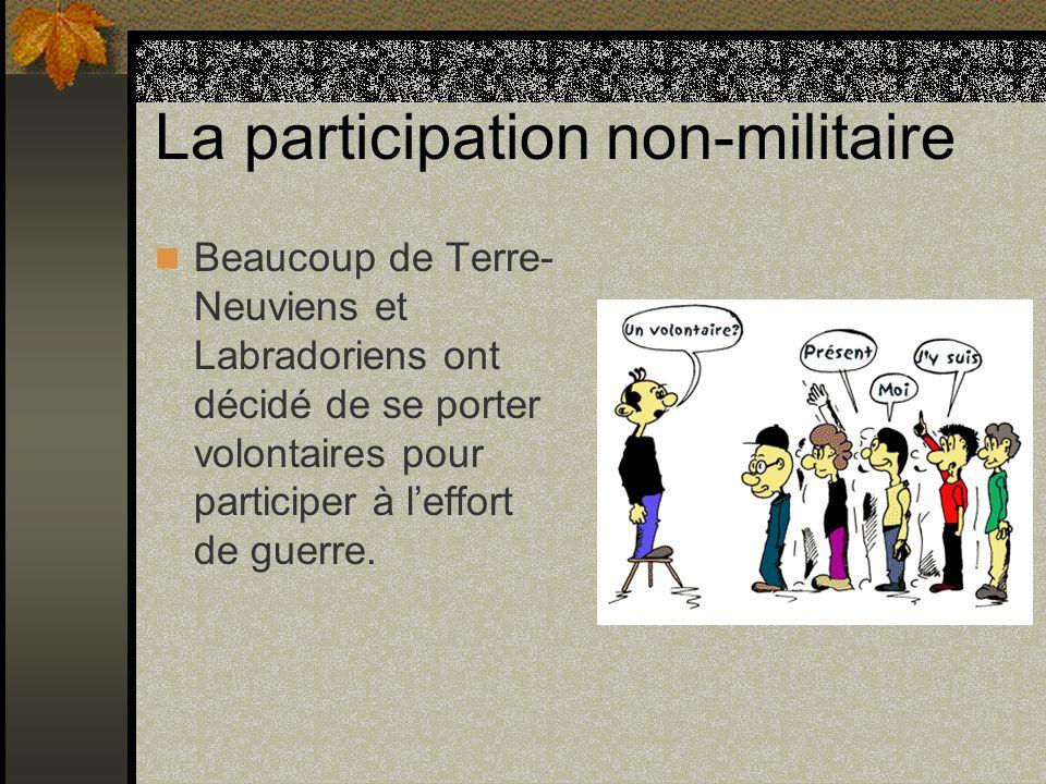 La participation non-militaire Beaucoup de Terre- Neuviens et Labradoriens ont décidé de se porter volontaires pour participer à leffort de guerre.