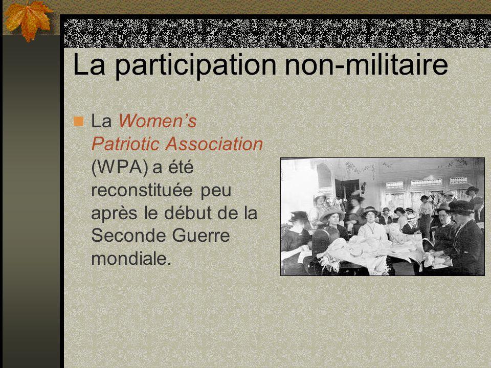 La participation non-militaire La Womens Patriotic Association (WPA) a été reconstituée peu après le début de la Seconde Guerre mondiale.